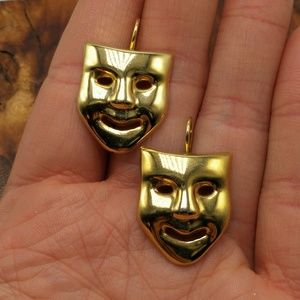 Vintage theater masks joker gold medal acting acto